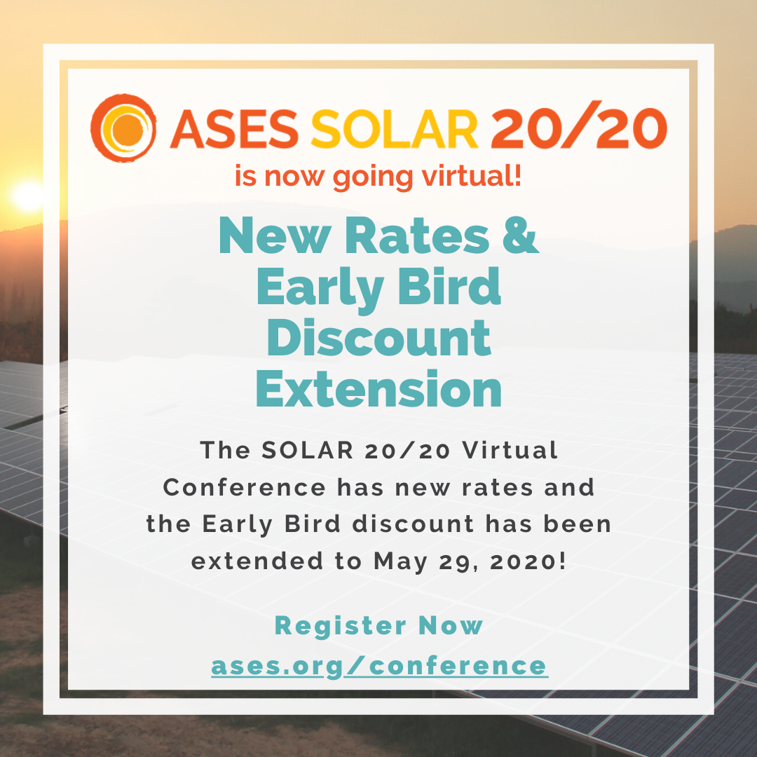 ASES SOLAR 20/20 is going virtual! Join the event online and learn more at ases.org/conference.